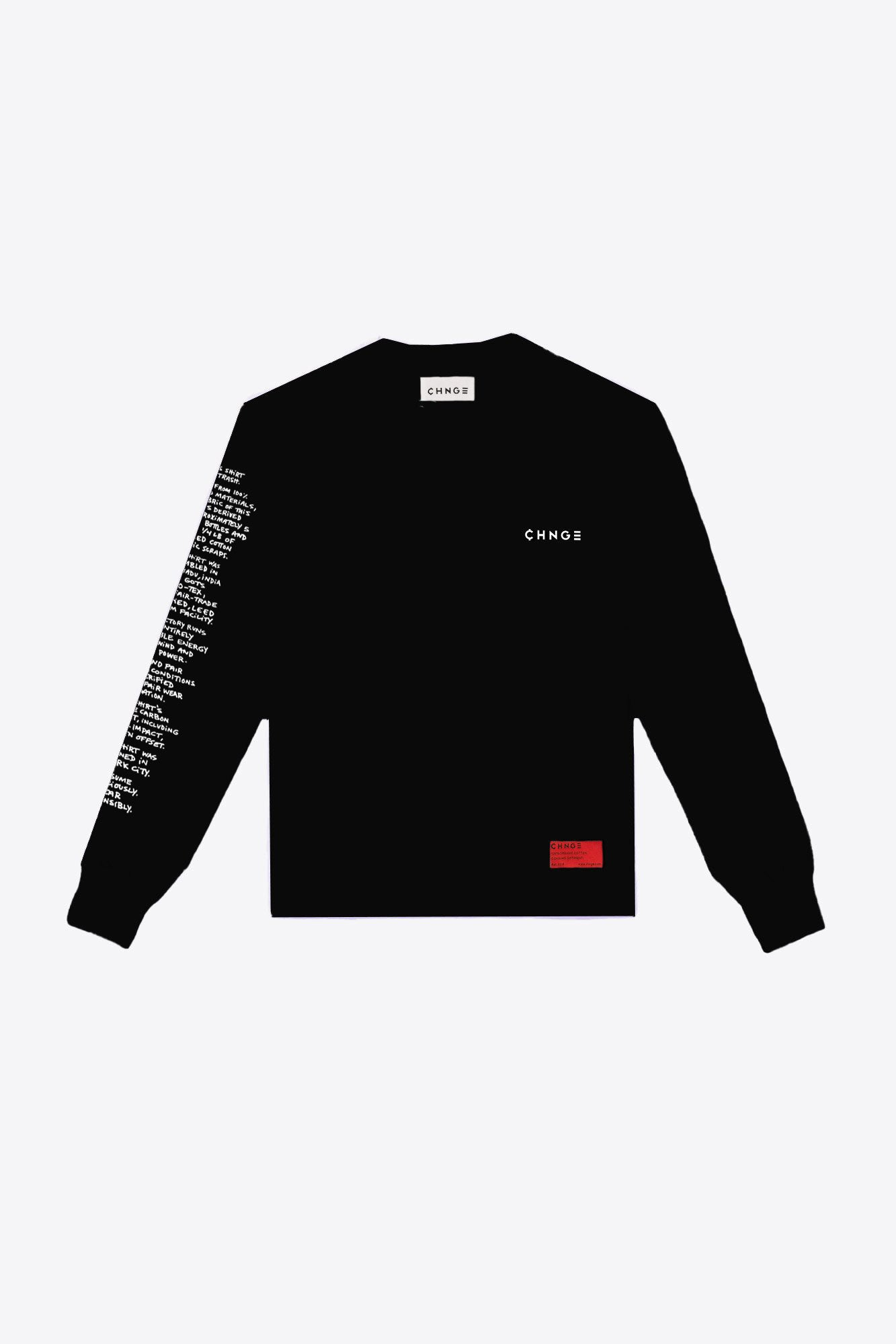 Zero Waste Transparency Long Sleeve Tee (Black)
