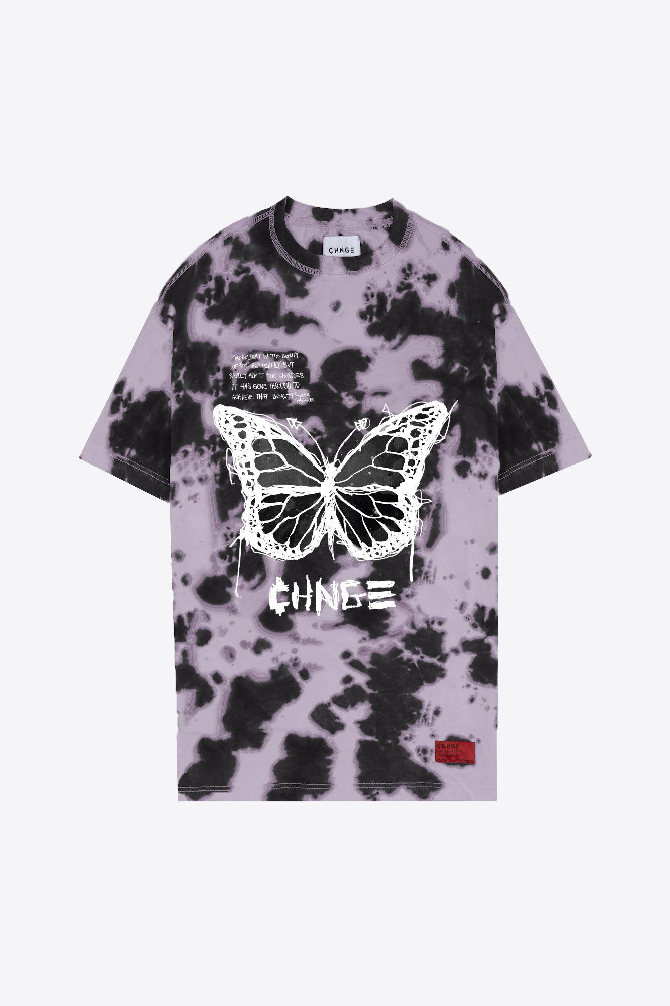 Tie Dye Butterfly T-Shirt Dress (Black/Mauve)