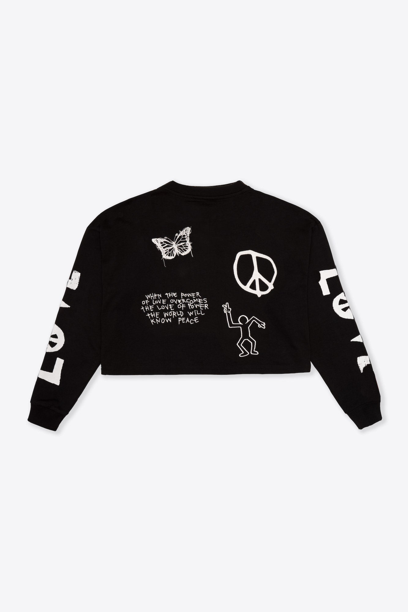 Black LVPE L/S Henley Crop Top