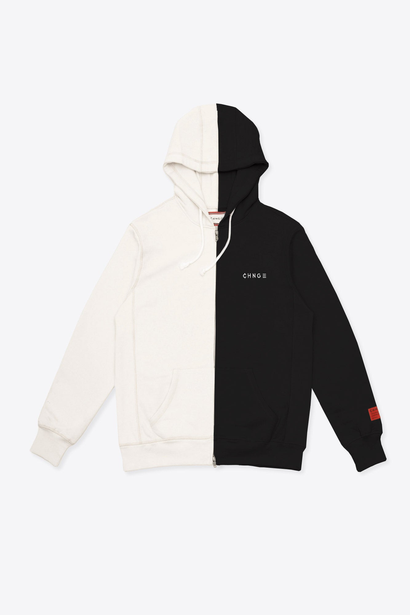 Chalk/Black Pieced Logo Zip Hoodie