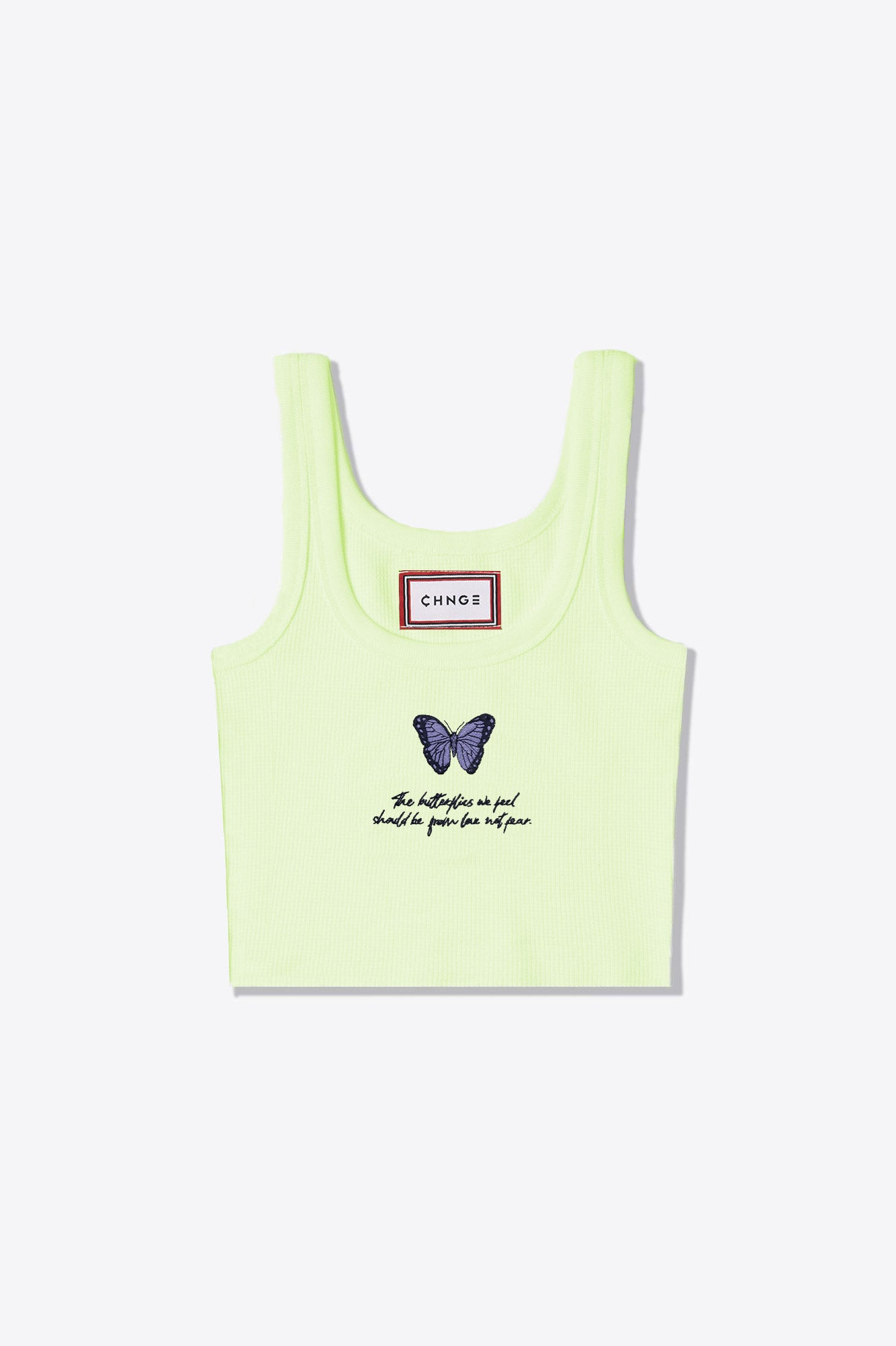 Lime Butterfly Feels Ribbed Tank