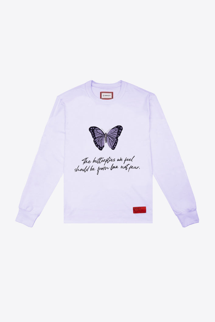 The Butterflies We Feel Cuffed L/S T-Shirt (Violet)