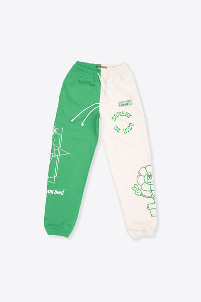 MHA Kelly Green/Chalk Pieced Sweatpant