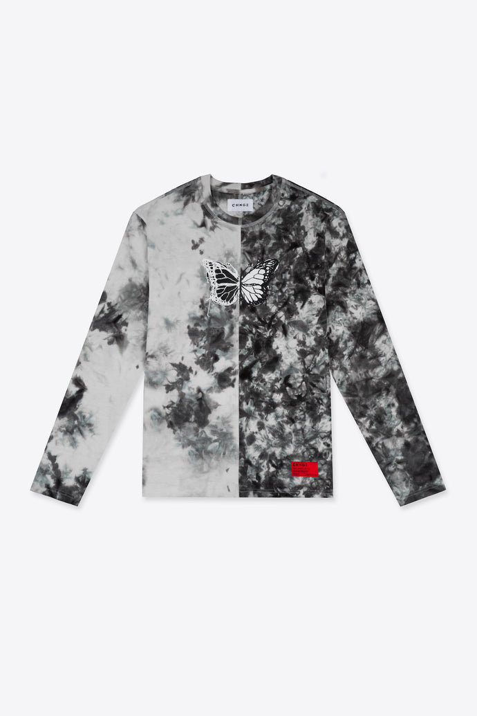 Long Sleeve Pieced Butterfly Tie Dye Tee