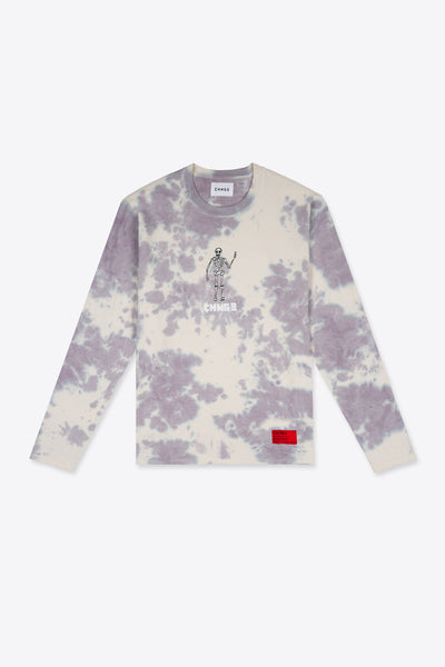 Long Sleeve Skeleton Tie Dye Tee