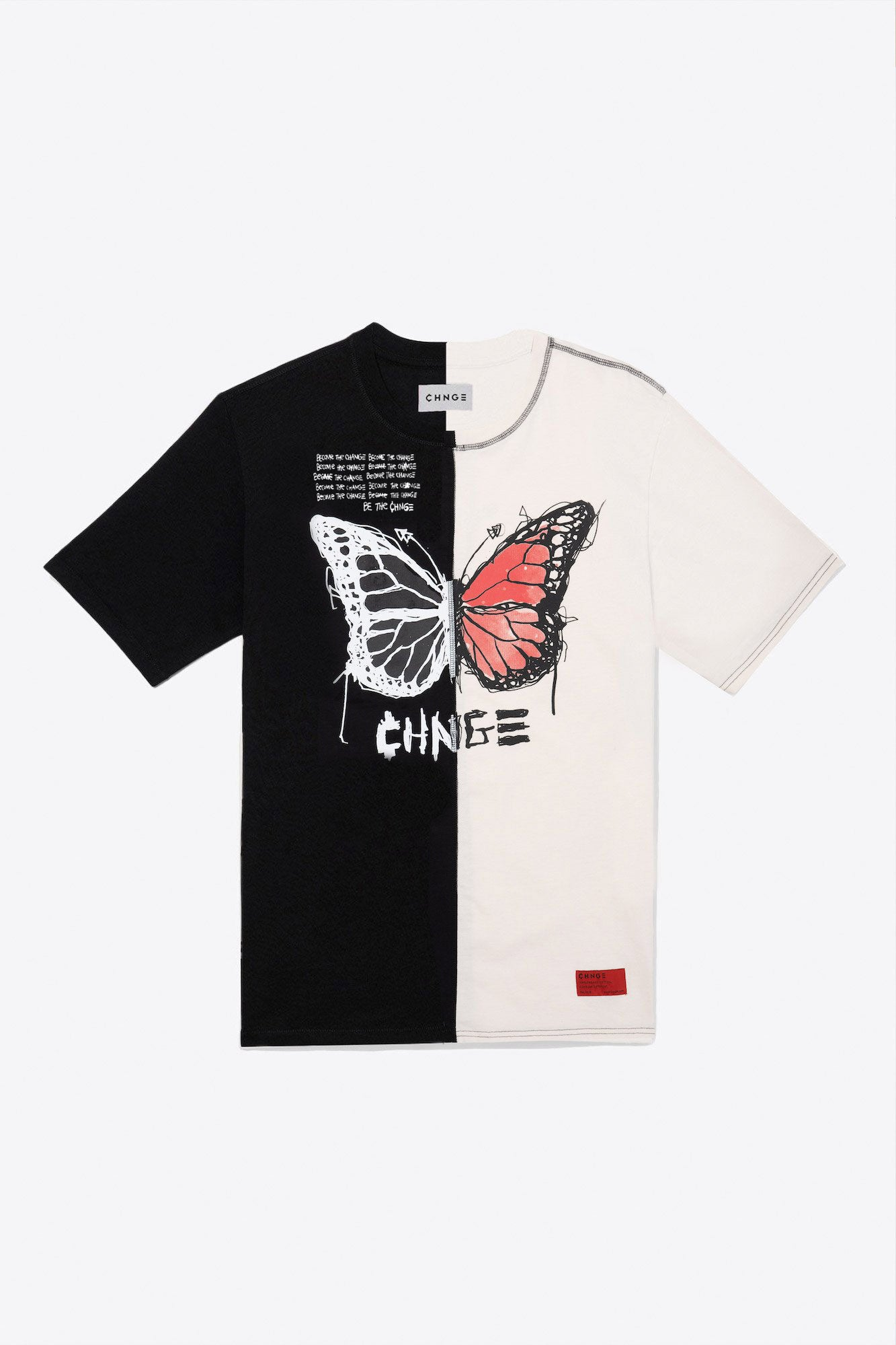Butterfly Quote Split Tee (Chalk/Black)