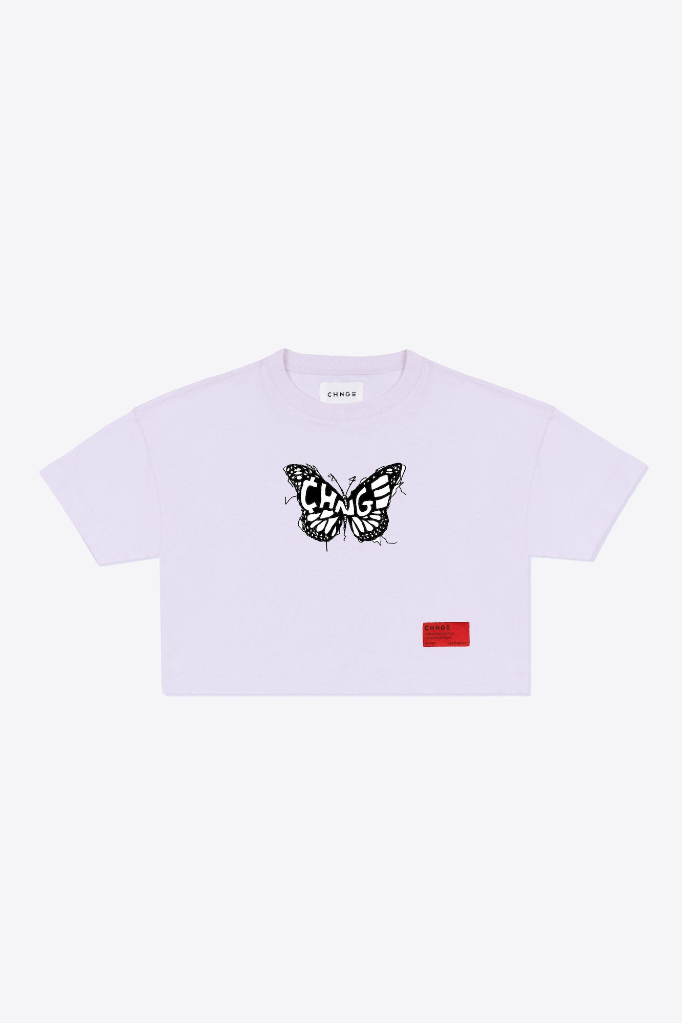 CHNGE logo butterfly Crop Top (Violet)