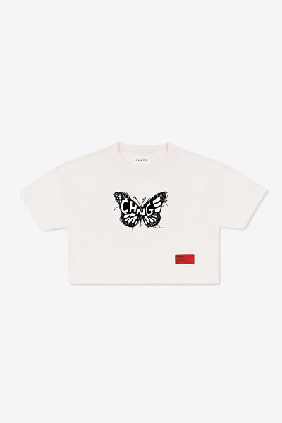CHNGE logo butterfly Crop Top (Chalk)