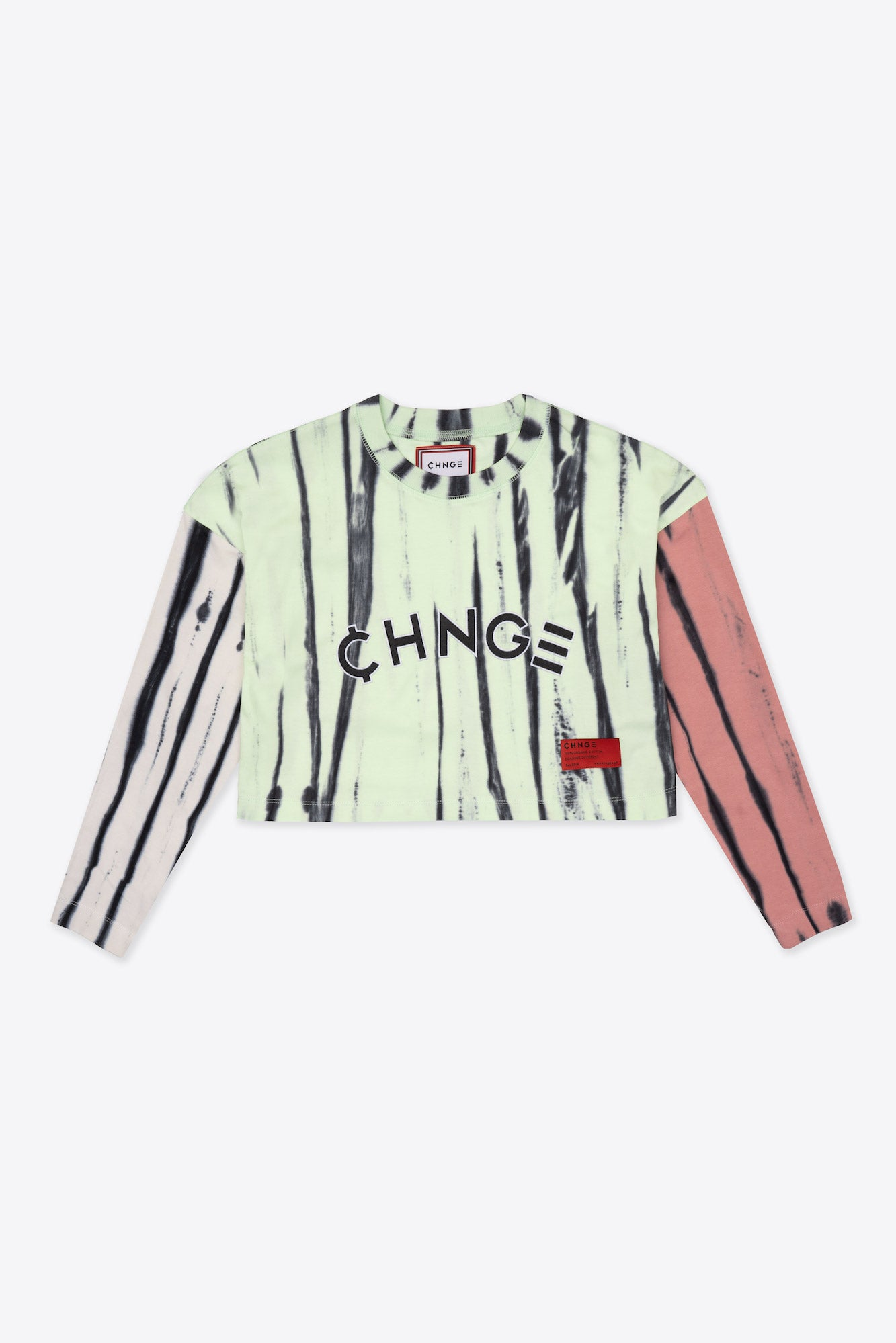 Pieced Tie Dye University  L/S Crop (Citron/Dusty Rose/Chalk)