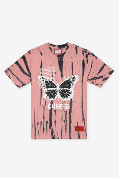 Tie Dye Become the CHNGE BF S/S T-Shirt (Dusty Rose/Black)