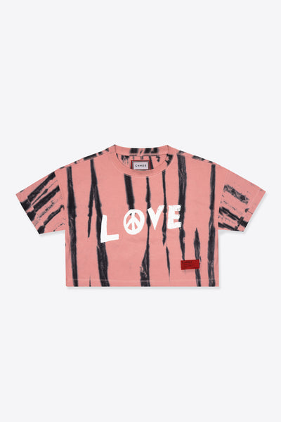 Tie Dye Love Peace S/S Crop (Dusty Rose)