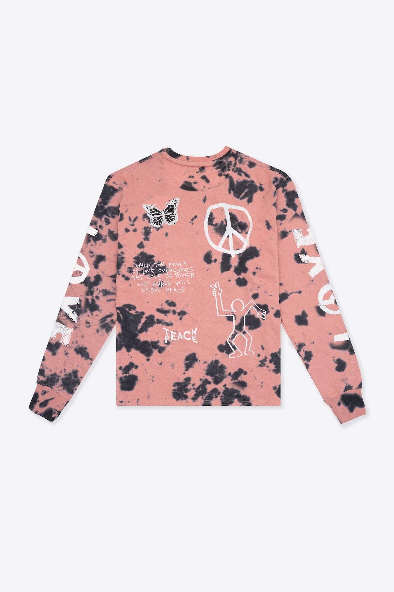 Tie Dye Love Peace Cuffed L/S T-Shirt (Dusty Rose/Black)