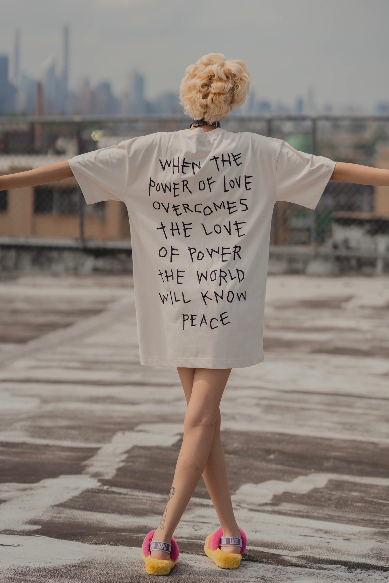 Power of Love T-Shirt Dress (Chalk)