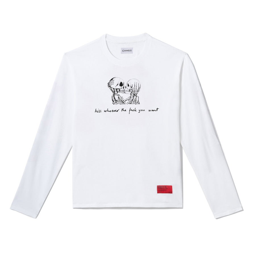 Kiss Whoever Long Sleeve (White)