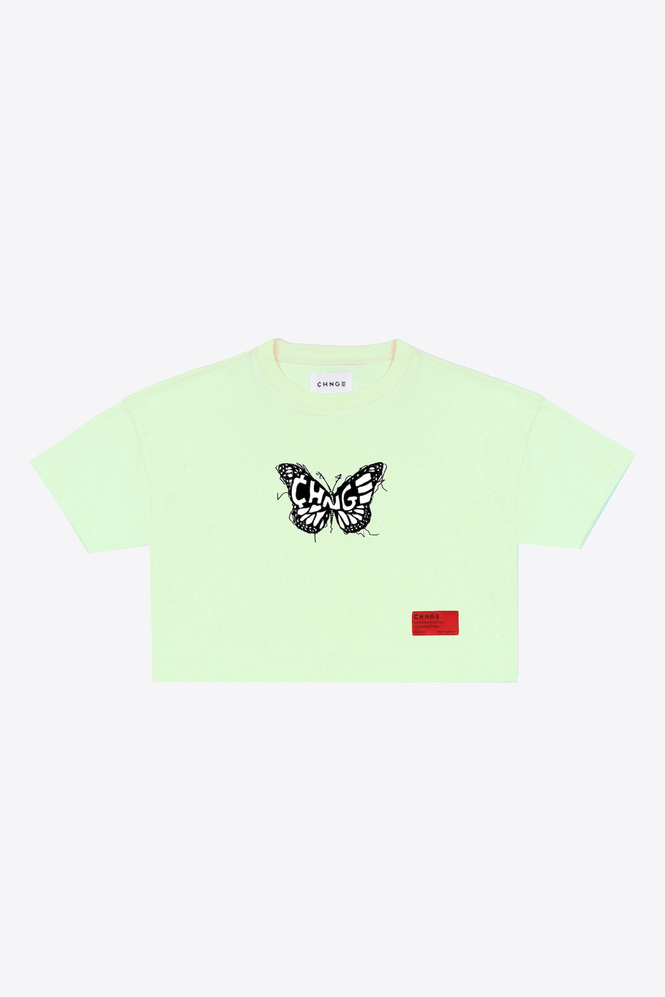 CHNGE logo butterfly Crop Top (Citron)