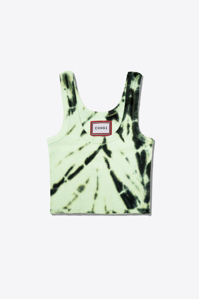 Tiger Stripe Tie Dye Logo  Ribbed Tank (Lime)