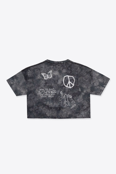 Tie Dye Love Peace S/S Crop (Chalk/Black)