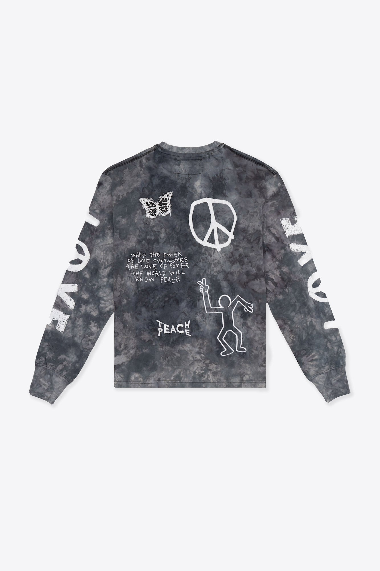 Tie Dye Love Peace Cuffed L/S T-Shirt (Chalk/Black)