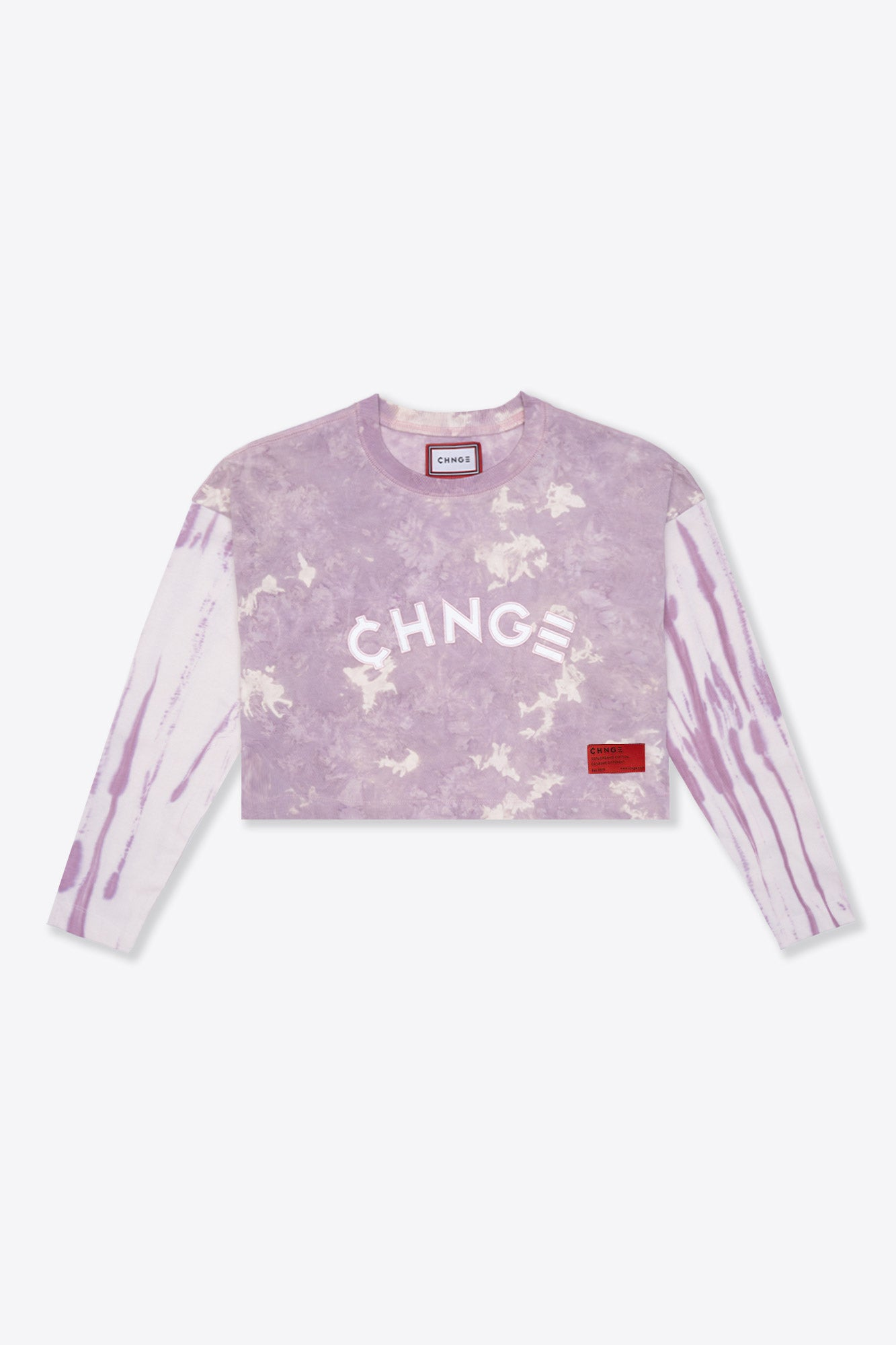 Pieced Tie Dye University  L/S Crop (Mauve/Chalk)