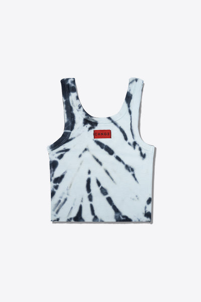 Tiger Stripe Tie Dye Logo  Ribbed Tank (Mint)