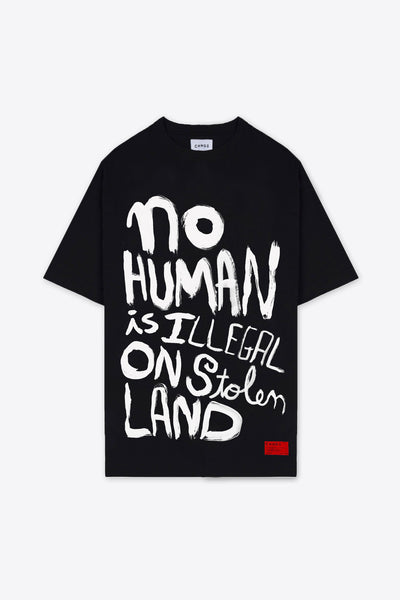 No Human is Illegal T-Shirt Dress (Black)
