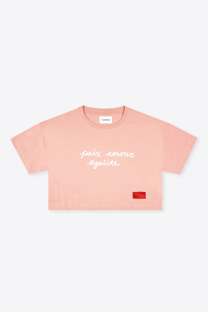 Peace Love Equality Crop (Coral)