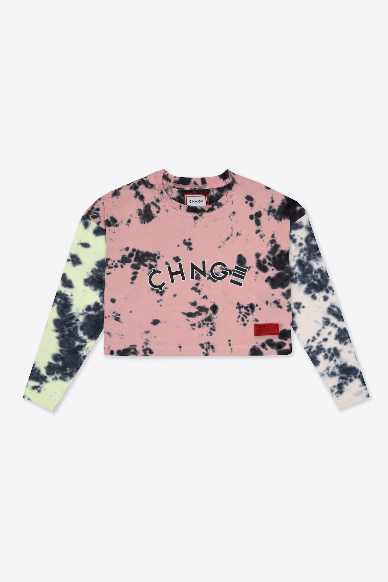 Pieced Tie Dye University  L/S Crop (Citron/Mauve/Chalk)
