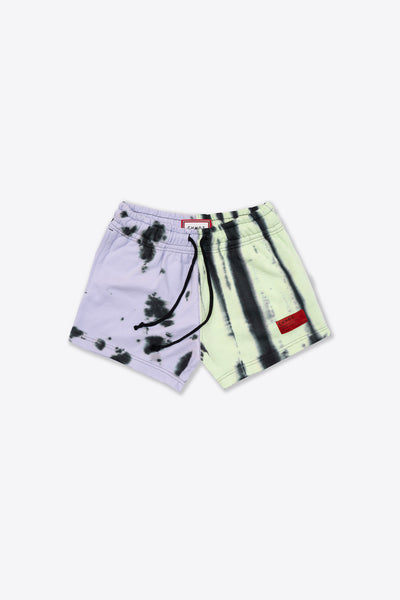 Violet/Lime Pieced Tie Dye Sweatshorts