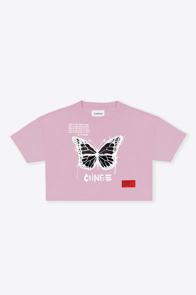 Butterfly Quote Crop Top (Mauve)