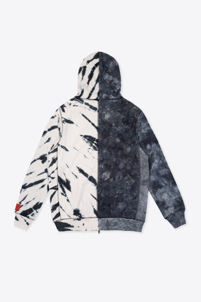 Black/Chalk Tie Dye Pieced Logo Zip Hoodie
