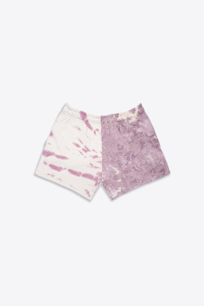 Mauve/Chalk Pieced Tie Dye Sweatshorts