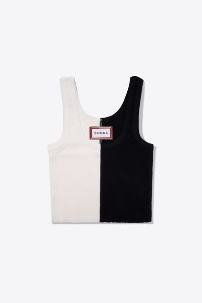 Pieced Ribbed Tank (Black/Chalk)