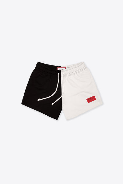 Chalk/Black Pieced Sweatshorts