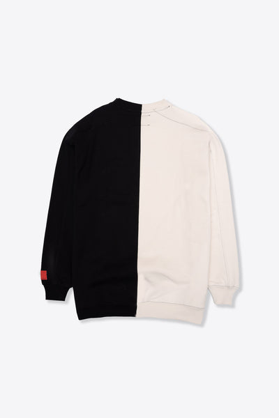 Black/Chalk Pieced Logo Crewneck