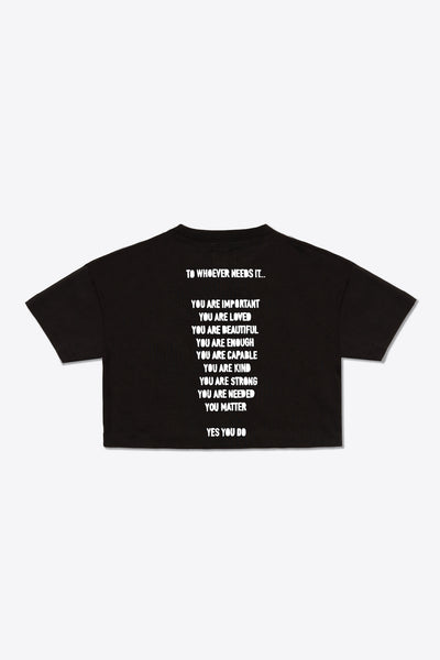 To Whoever Needs It Crop Top (Black)