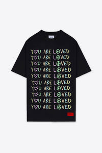 You Are Loved T-Shirt Dress (Black)