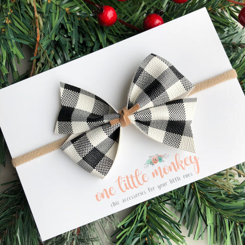 Buffalo Plaid KENNEDY Bow - White