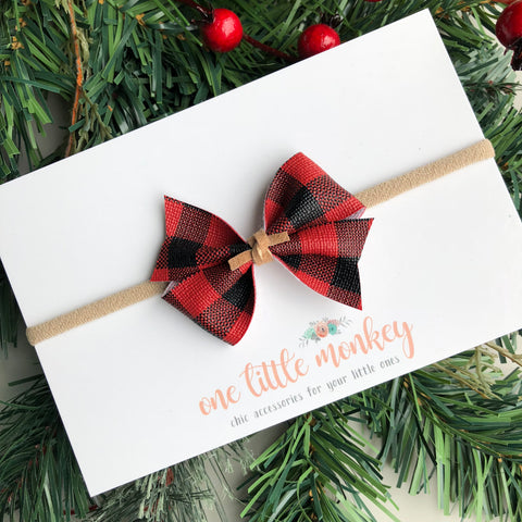 Buffalo Plaid RAEGAN Bow - Red