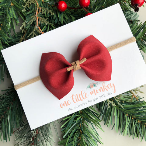 Holly Berry Suede MILLIE Bow