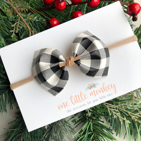 Buffalo Plaid MILLIE Bow - White