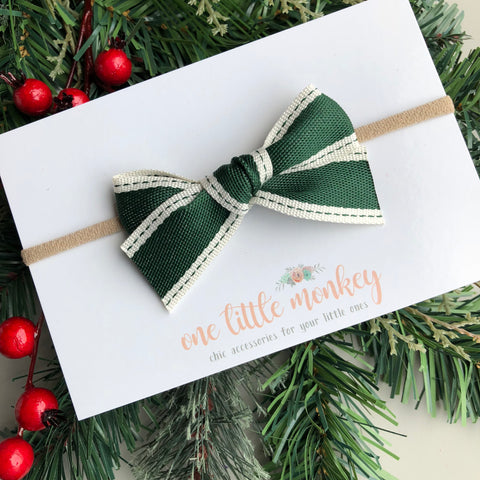 Vintage Christmas WILLOW Bow - Evergreen