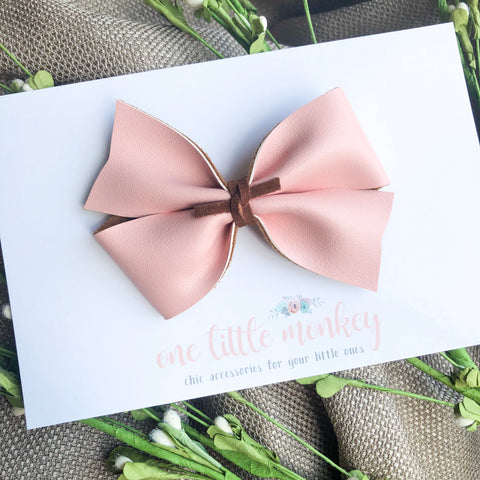 Blush Faux Leather KENNEDY Bow