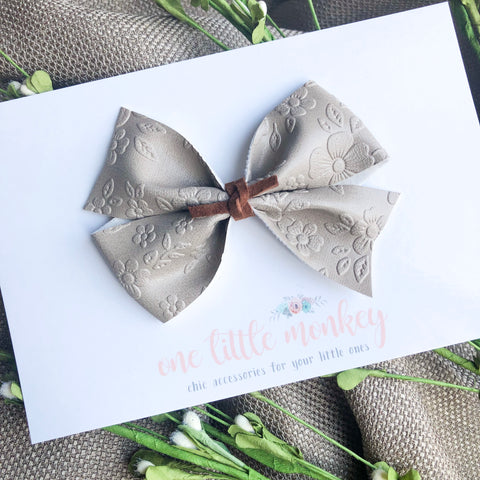 Embossed Floral KENNEDY Bow - Greige