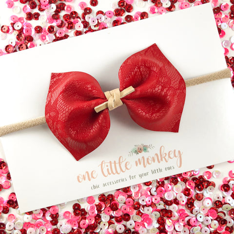 Red Lace MILLIE Bow
