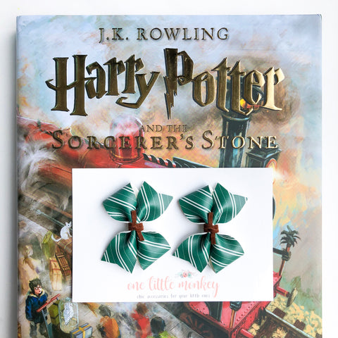 Slytherin RAEGAN Bows - Set of 2 Piggy Clips
