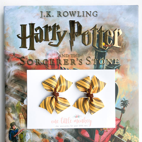 Hufflepuff RAEGAN Bows - Set of 2 Piggy Clips