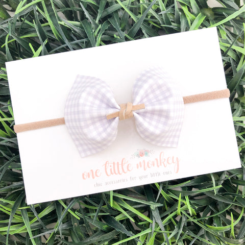 Gray Gingham MILLIE Bow