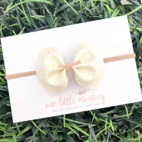 Yellow Gingham MILLIE Bow