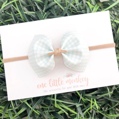 Mint Gingham MILLIE Bow