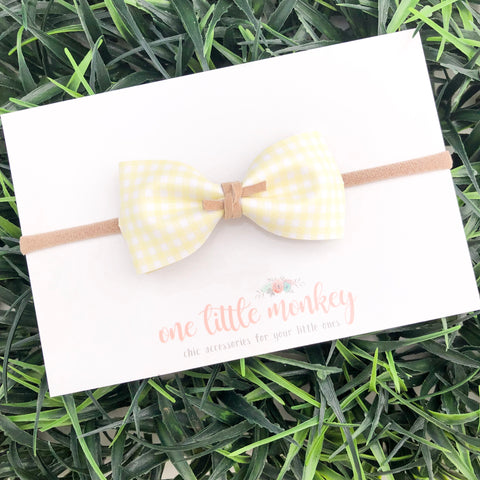 Yellow Gingham HARLOWE Bow